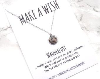 Wanderlust dainty necklace, globe minimalist necklace, travel jewelry, bff gift, make a wish jewelry,compass necklace, wanderlust jewelry