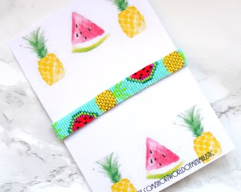 Pineapple peyote friendship bracelet, watermelon beaded bracelet, beach bohemian bracelet, multicolor bracelet, fruit jewelry