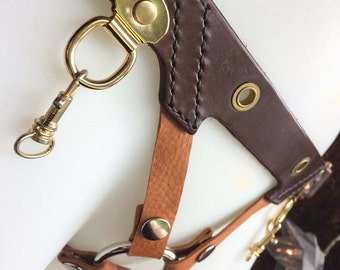Leather Strap on Harness - Steampunk - Gold, Tan, Brown