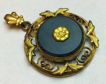 Vintage 12k gold Filled Single Round Pendant With Onyx, Black Stone, Flower, Antique Jewelry, Gift Idea