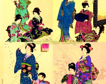 TOYOHARA CHIKANOBU Paintings (B) - Printable Digital Images - Collage Sheets - Instant Download - 3 PNG Files 4x4. 2x2. 1x1