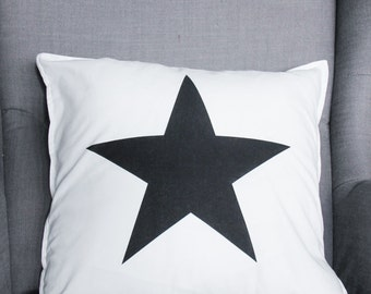 READY TO SHIP! White-black Star Pillow with Cotton Cover 40x40 cm