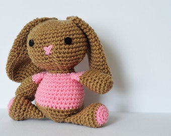 Crochet Brown Easter Bunny Rabbit Plush Pink and Brown