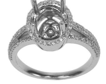 0.37 CTW Oval Cut Diamond Semi Mount  Ring in 14K White Gold 9x11mm