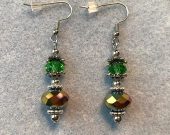 Drop Earrings-Green-Brown