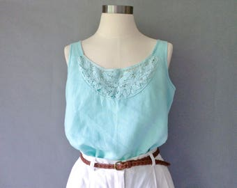 Vintage linen tank top sleeveless embroidery size S/M