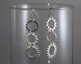 Spiked Wheel Dangle Earrings