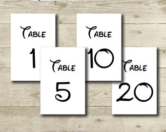 Disney Table Numbers // PRINTABLE // 4x6 // Disney Wedding // Disney Birthday Party // Disney Bridal Shower // 1-30 Tables // Disney Theme