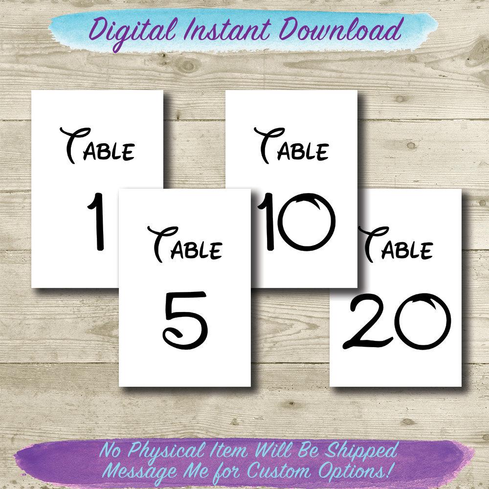 disney table numbers printable 4x6 disney wedding