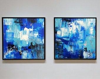 Set Of Two Prints, Printable Wall Art, Bathroom Art, Blue Wall Art Large Art Print Blue Abstract Print, Set Of Two Blue Prints, Abstract Art