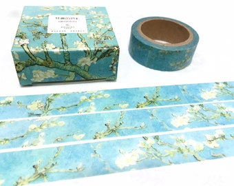 Almond Blossoms washi tape 7M Van Gogh Impression painting masking tape sticker flower blossoms blue oil painting art print paper gift