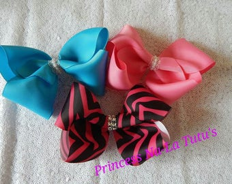 """Hair clip,Boutique bow, 4"""" bow , Big girl bow, jojo bow,pink bow, blue bow, zebra bow"""