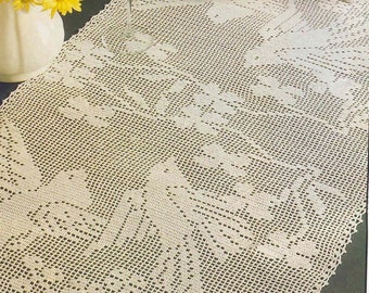 275. Vintage filet crochet runner UK pattern in pdf
