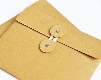 65 String Tie Envelope, kraft container, packaging bag, gift wrapping envelope, kraft paper, 12x16cm, kraft envelope set, recipe card sleeve