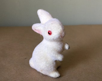 Fuzzy White Bunny Rabbit Vintage Easter Decor