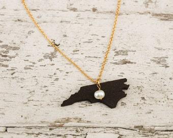 North Carolina, North Carolina State Necklace, Wooden State Necklace, North Carolina Jewelry,  Personalized Gift, Going Away Gift