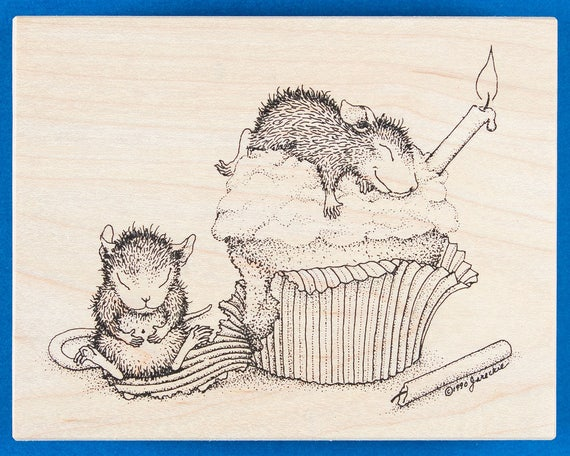House Mouse Birthday Cupcake Rubber Stamp - Cute Mouse Asleep on Cupcake and Another With Full Belly - Stampa Rosa 58
