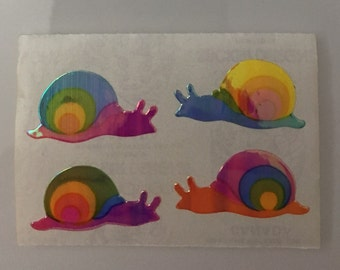 Super Rare Vintage Rainbow Pearl Snail Stickers