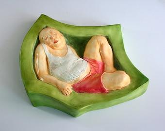 NAP 1,relief sculpture,wall sculpture, artist sculpture, mixed media by RJMstudio1