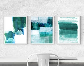 Best Selling Item, Abstract Art, Scandinavian Prints, Geometric Printable Art, Abstract Prints, Set of 3 Prints, Turquoise and Aqua Blue