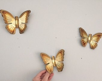 Set of 3 Gold Brass Butterflies