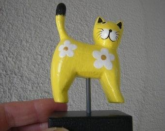 Yellow Folk Art CAT on wood stand