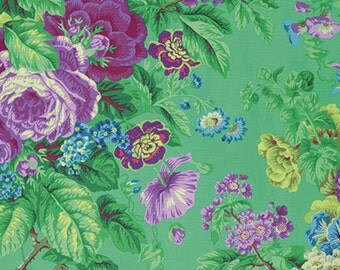 Kaffe Fassett Spring 2015 Floral Delight in Green by Philip Jacobs - purple flowers floral cotton fabric by the yard metre PWPJ075.GREEN