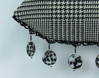 Black and White Houndstooth Beaded clutch