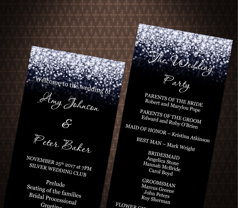 Black and Silver Glitter Wedding program templates, Silver Glitter ...