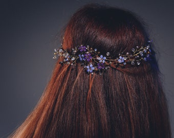 Hair gold-purple  flowers branch