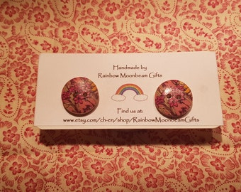 Pink Floral Wooden Button Earrings, Silver plated Studs