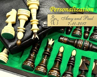 "Personalized 21"" Grand Chess Set and Cover available - Carved Board - 21""/54cm-Giant Pieces-Leather Cover available-Personalization for FREE"