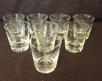 Set of 8 Bamboo Etched Glasses