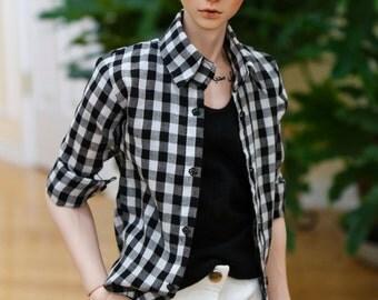BJD SD17 Plaid Button Up Collar Shirt - Black and White