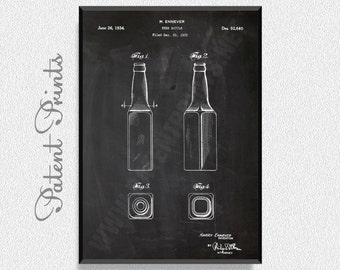 Beer Bottle 1934 Patent Print, Brewing Poster, Brewing Decor, Brewing Blueprint, Beer Print, Beer Poster, Beer Art
