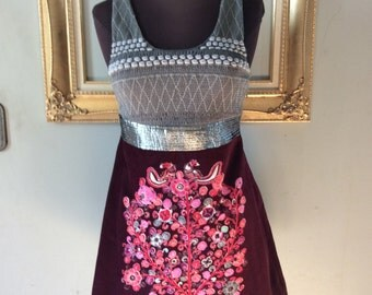 100% Cotton Free People Anthropologie Smocked Beaded Velvet Dress in Purple and Silver