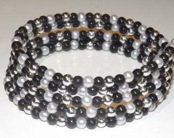 Bracelet of acrylic beads and glass beads  on memory wire, 5 wrap, White, Black and silver