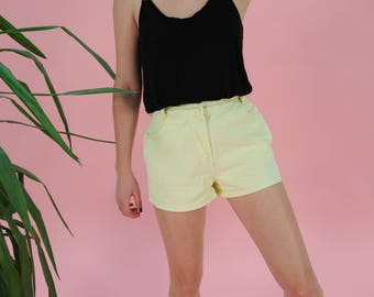 FREE SHIPPING Vintage Denim Shorts, Yellow Vintage high waist Size S