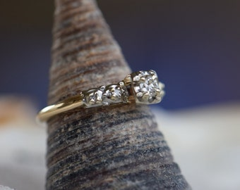 14 Karat Yellow Gold Vintage Diamond 5 Stone Engagement Ring, US Size 5.75, Used Gold Jewelry