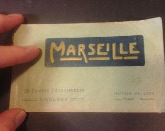 Antique MARSEILLE POSTCARD BOOKLET, 20 tinted postcards