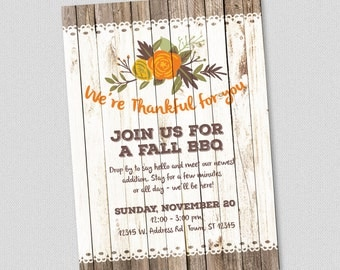 Printable Party Invitation - Fall Thank You BBQ