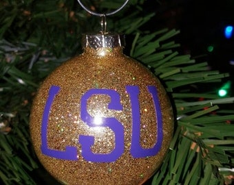 Gold and Purple Ornament with LSU Print