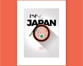 """Illustration Poster art Print """"A taste of JAPAN"""" - affiche A3"""