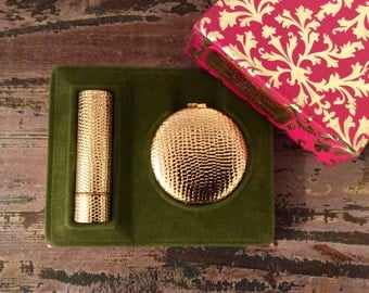 Vintage Revlon Tres Petite Cosmetic Set - Touch and Glow Pressed Powder | Moon Drops Lipstick in Van Cleef & Arpels Gold Lizard Cases