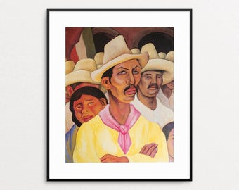 Diego Rivera - Peasants, 1946 - Vintage Book Page - Mexican Art - Diego Rivera Print - Diego Rivera Painting - Mexican Decor - Wall Art