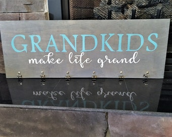 Grandkids make life grand wood sign ~Large Wood Sign~ 12 by 30~ Grandparents Gift~ Mothers Day Gift~Christmas ~Handmade reclaimed wood sign
