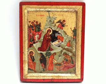Handpainted Icon The Nativity of Christ, Copy of Antique Byzantine 16th Century Icon from Greek Orthodox Monastery, Holy Icon, Nativity icon