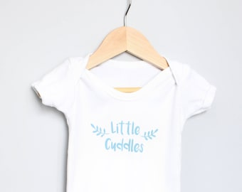 Little Cuddles Baby Bodysuit - Hand Printed Baby Grow, Personalised Baby Clothes, Screen Printed Baby Clothes, Botanical Design,