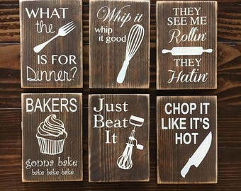 SIX Funny Kitchen Wood Signs|| Rustic Kitchen Wood Signs|| Hand painted Wood Sign||