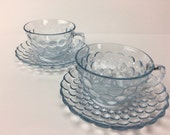 Anchor Hocking Bubble glass Teacups, blue bubble glass Teacups, Set of two Vintage Bubble Teacups, 50's Teacups, vintage teacups